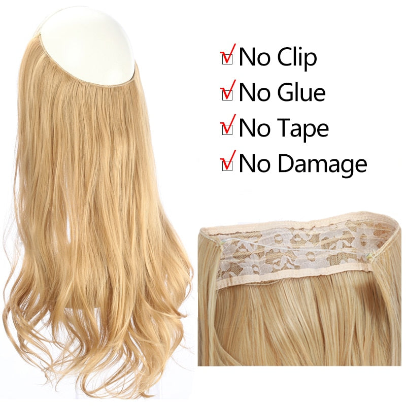 "12 ""14"" 16 ""18"" vague Halo Extensions de cheveux Invisible Ombre Bayalage synthétique naturel secousse caché Secret fil couronne cheveux pièce"