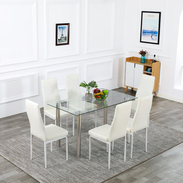 Bonnlo 7-Piece Kitchen Dining Table with Chairs,Clear&White