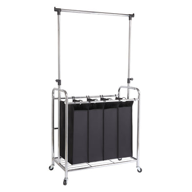 Bonnlo 4-Bag Laundry Sorter with Hanging Bar, Black