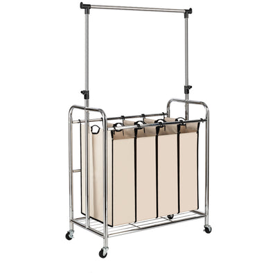 Bonnlo 4-Bag Laundry Sorter with Hanging Bar, Beige