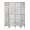 Bonnlo Wood Room Divider (Greyish White, 4 Panel)