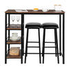 Bonnlo 3-Piece Pub Table with 2 Upholstered Stools & 3 Open Storage Shelves