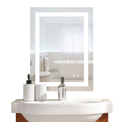 "Bonnlo 20""×28"" Dimmable Led Bathroom Mirror with Touch Button and Anti-Fog Function"
