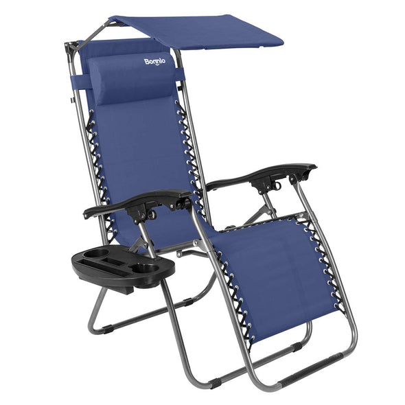 Bonnlo Folding Recliner Chair with Canopy (Blue)