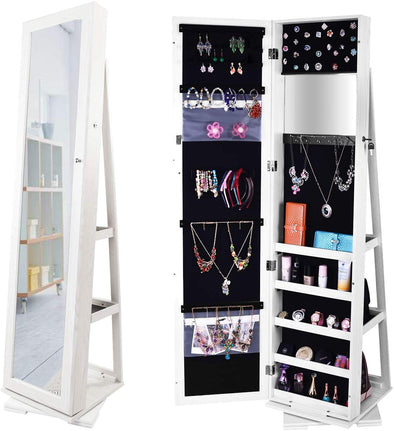 Bonnlo Jewelry Armoire Freestanding 360°