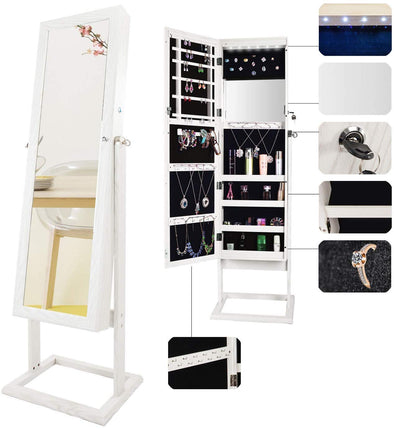Bonnlo Jewelry Armoire Freestanding with LEDs