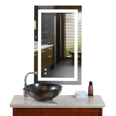 "Bonnlo 36""×28"" Dimmable Led Bathroom Mirror with Touch Button and Anti-Fog Function"