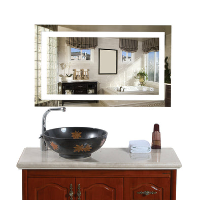 "Bonnlo 40""×24"" Dimmable Led Bathroom Mirror with Touch Button and Anti-Fog Function"