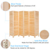 Bonnlo Wood Room Divider (Natural, 6 Panels)