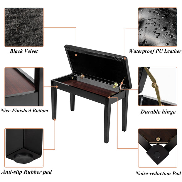 Bonnlo Duet Piano Bench, Black