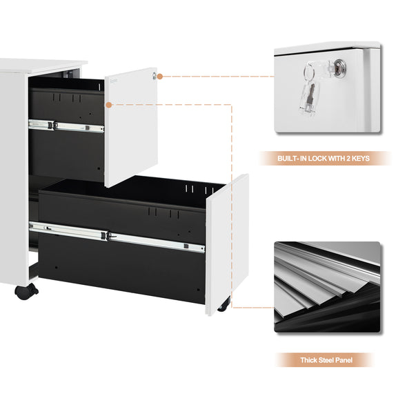 Bonnlo 2-Drawer Rolling File Cabinet, White