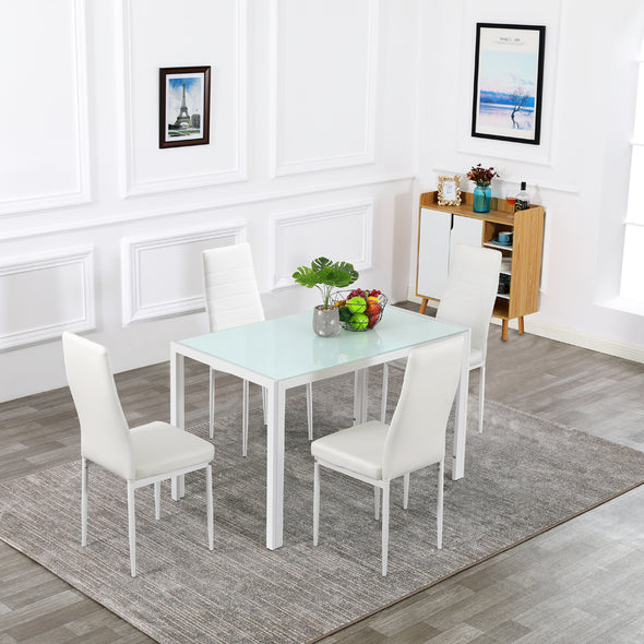 Bonnlo Glass Dining Table with Chairs for 4 Person