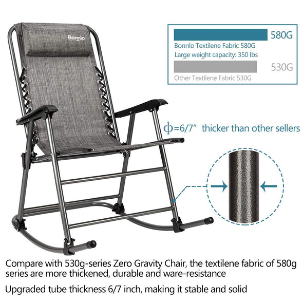 Bonnlo Folding Rocking Chair (Grey)