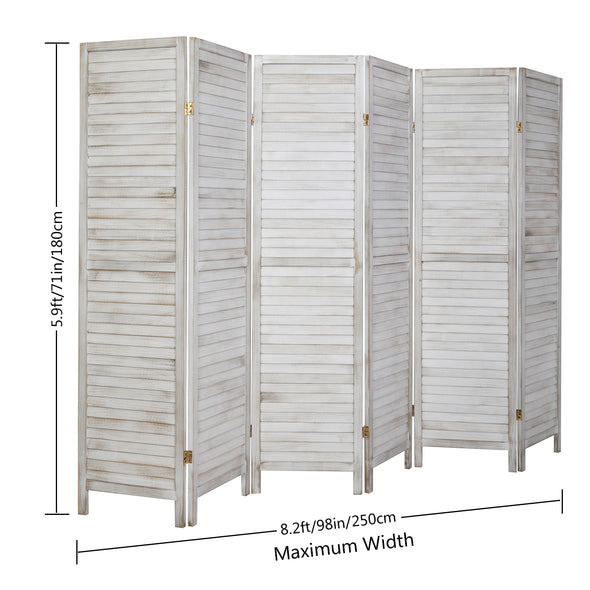 Bonnlo Wood Room Divider (Greyish White, 6 Panels)