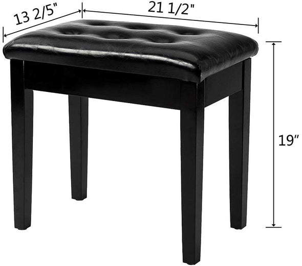 Bonnlo Padded Piano Bench, Black