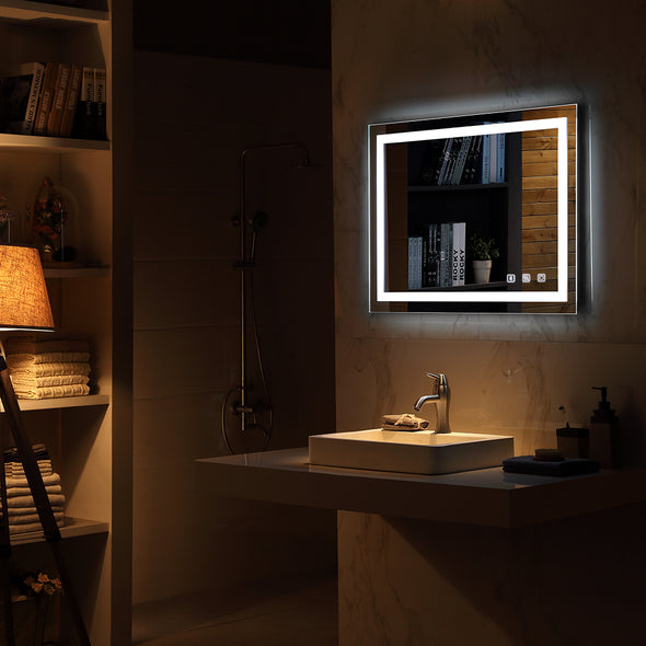 "Bonnlo 36""×28"" Dimmable Led Bathroom Mirror with Bluetooth Speaker&Touch Button&Anti-Fog Function"