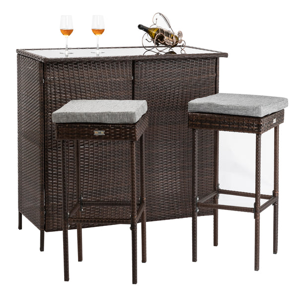 Bonnlo 3PCS Outdoor Wicker Bar Set