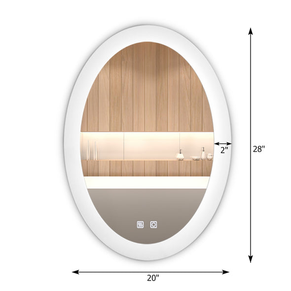 "Bonnlo 28""×20"" Dimmable Led Bathroom Mirror with Touch Button and Anti-Fog Function,Oval"