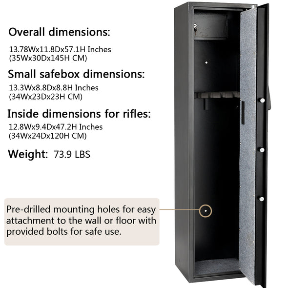 Bonnlo Quick Access 5 Gun Rifle Safe