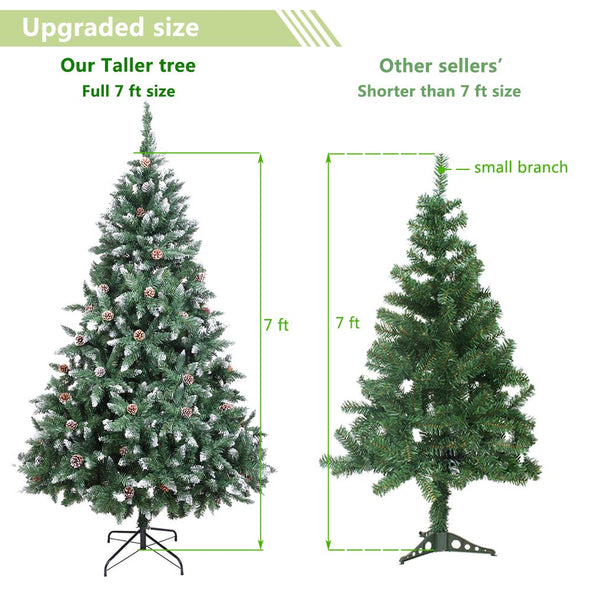 Bonnlo 7 Feet Artificial Snowy Pine Cone Christmas Tree with Sturdy Metal Legs