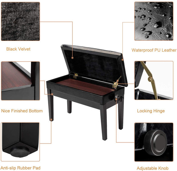Bonnlo Adjustable Duet Piano Bench, Black