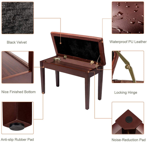 Bonnlo Brown Duet Piano Bench with decorative buttons