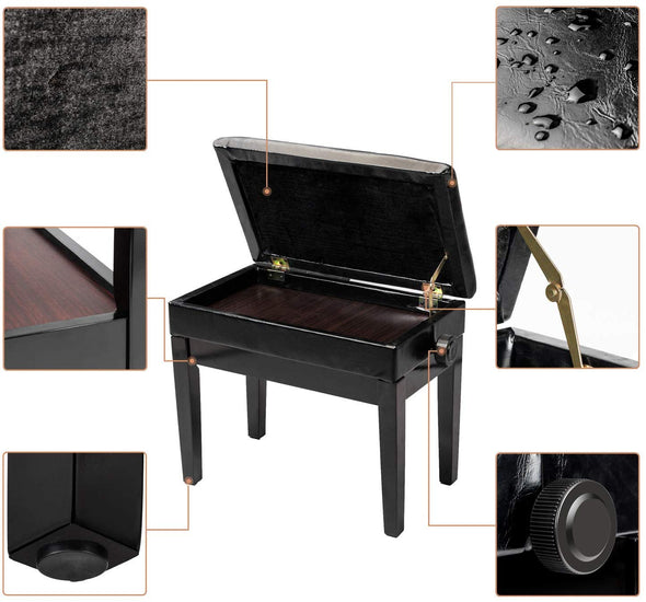 Bonnlo Adjustable Piano Bench, Black