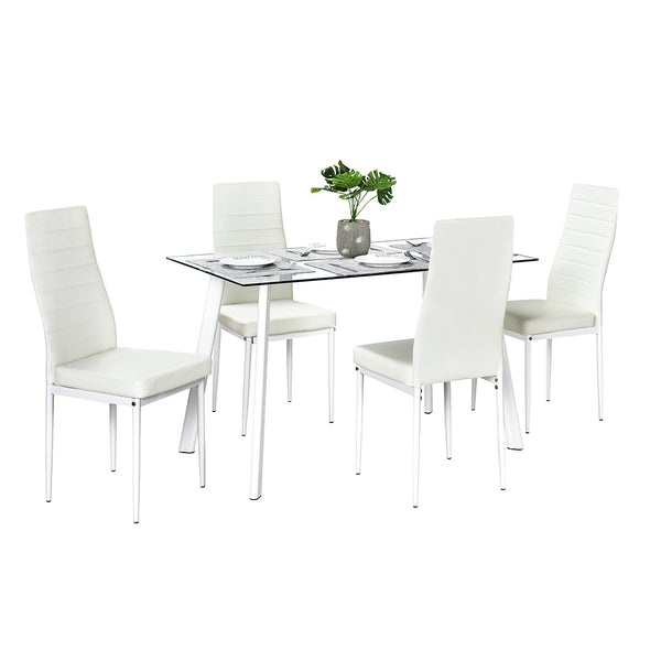 Bonnlo 5-Piece Kitchen Dining Table with Chairs,Clear&White