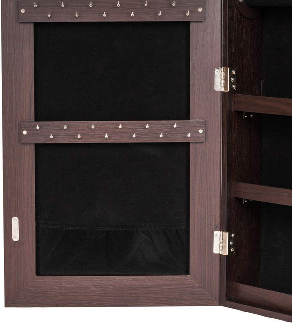 Bonnlo Jewelry Armoire Full Mirror Brown
