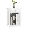 Bonnlo White Nightstand with Drawer and Cabinet