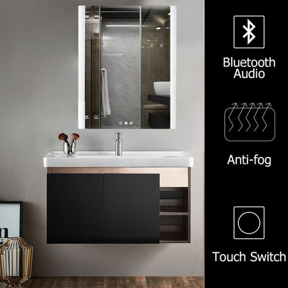 "Bonnlo 32""H ×24""W Dimmable Led Bathroom Mirror with Bluetooth Speaker&Touch Button&Anti-Fog Function"