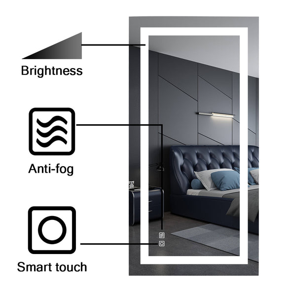 "Bonnlo 48""×24"" Dimmable Led Bathroom Mirror with Touch Button and Anti-Fog Function"