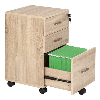 Bonnlo 3-Drawer Rolling Wood File Cabinet