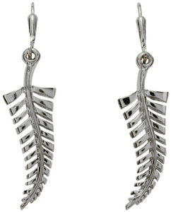 PE137 Palladium Silver Fern Earrings