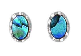 PE117 Paua Palladium Small Oval Stud Earrings