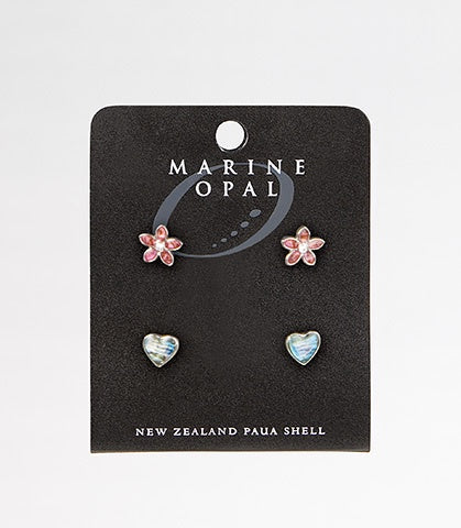 MOE92 Earring Heart and Pink Flower