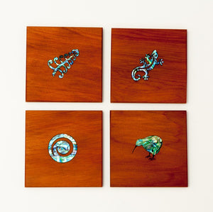 Square Coasters with Paua - Set of 4