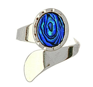 PO941 Paua Palladium Wrap Around Ring