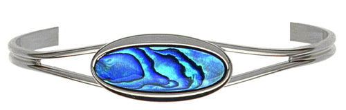 PB937 Paua Palladium large Oval Bangle