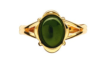 GO920 Gold Greenstone Oval Ring