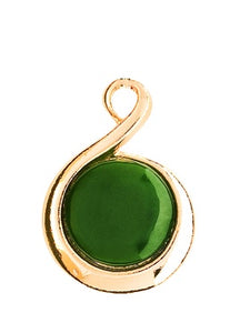 GO871 Gold Greenstone Dew Drop Pendant