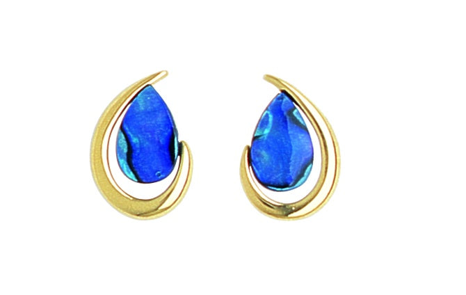 PE439 Paua Gold Teardrop Earrings