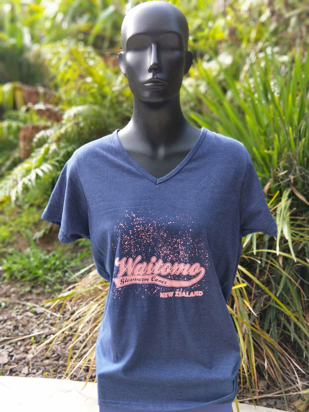 Ladies V Neck Tshirt Navy WGC