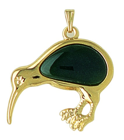 GO420 Gold Greenstone Large Kiwi Pendant
