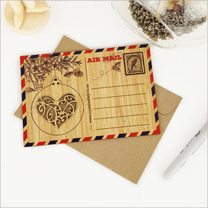 Bamboo Postcard - KWW Heart Bauble
