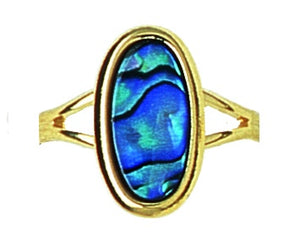 GP915 Gold Paua Small Oval Ring