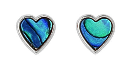 PE114 Paua Palladium Heart Stud Earrings
