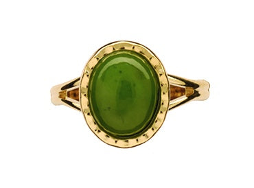 GO906 Gold Greenstone Scalloped Round Ring