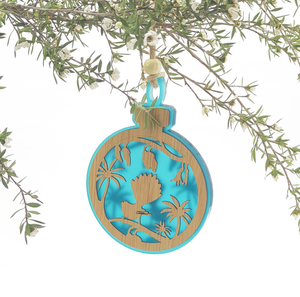Wooden Hanging Ornaments - Fantail on Kowhai