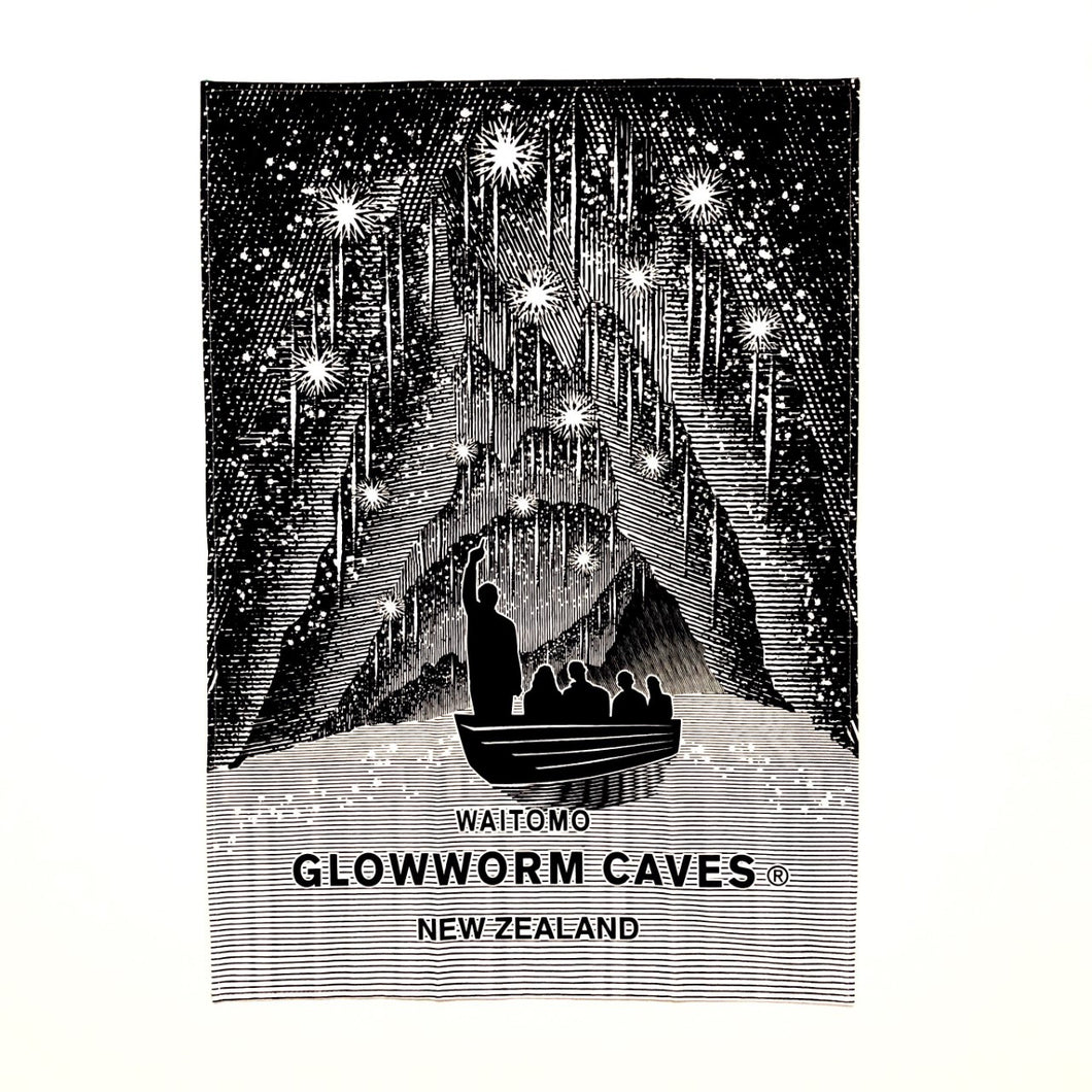 100% Cotton Tea Towel Waitomo Glowworm Caves Design